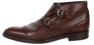 Salvatore Ferragamo Leather Monk Strap Boots