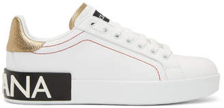 Dolce & Gabbana White and Gold Portofino Logo Sneakers
