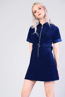 Glamorous Womens **Belted Corduroy Dress By Navy Blue