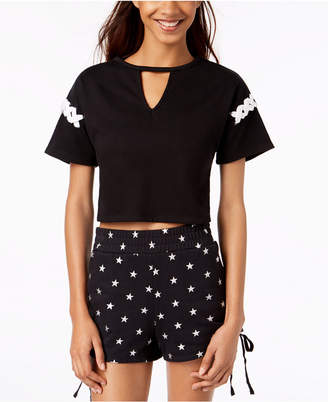 Material Girl Active Juniors' Lace-Up Crop Top, Created for Macy's
