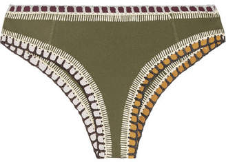 Kiini Wren Crochet-trimmed Bikini Briefs - Army green