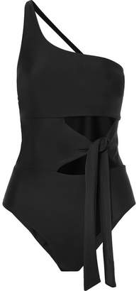 JADE SWIM Collision One-shoulder Cutout Swimsuit - Black