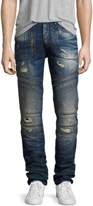 PRPS Demon Distressed Moto Slim-Straight Jeans, Camping (Dark Blue)