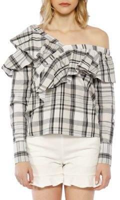 Anabela Stripe Cold Shoulder Top