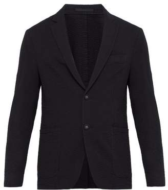 Officine Generale Lightweight Cotton Seersucker Blazer - Mens - Black