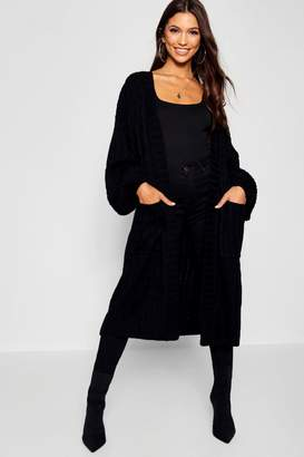 boohoo Cable Knitted Midi Cardigan