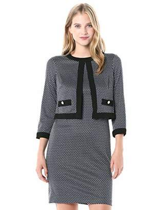 Karl Lagerfeld Paris Women's Long Sleeve Printed Knit Sheath with Attached Jacket top
