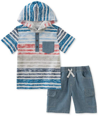 Kids Headquarters 2-Pc. Cotton Striped Hooded T-Shirt & Chambray Cargo Shorts Set, Baby Boys