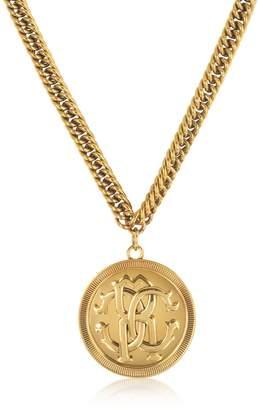 Roberto Cavalli Antique Goldtone Metal Large Logo Coin Pendant Necklace