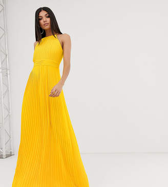 TFNC Tall Tall high neck pleated maxi dress in yellow
