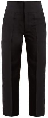 Muveil - High Rise Lace Up Detail Cropped Trousers - Womens - Navy