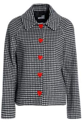 Love Moschino Embellished Gingham Wool-Blend Jacket