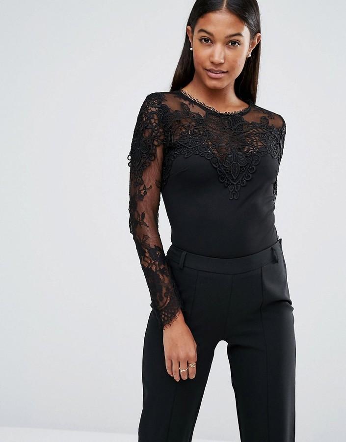 Michelle Keegan Loves Lipsy Long Sleeve Lace Bodysuit