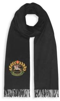 Burberry Large Crest Embroidered Cashmere Scarf