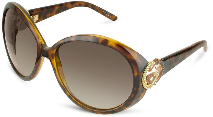 Gucci Crystal & Bamboo GG Logo Round Sunglasses
