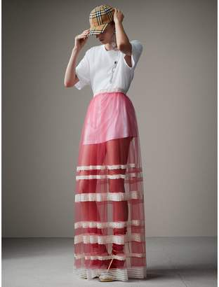 Burberry Floor-length English Lace Trim Tulle Skirt