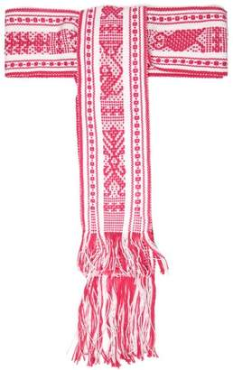 Pippa Holt - Fringed Woven Cotton Tie Belt - Womens - Pink