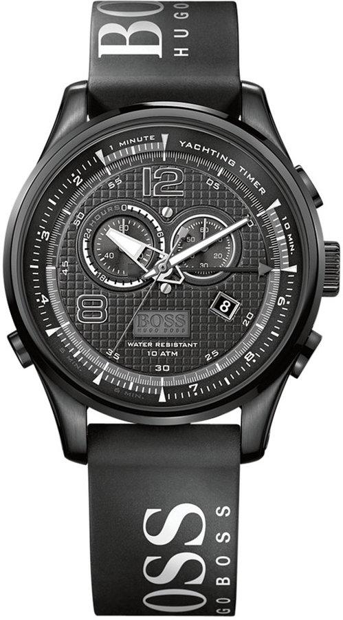 HUGO BOSS Watch, Men's Chronograph Black Logo Rubber Strap 46mm 1512832