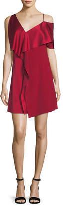 Diane von Furstenberg Asymmetric Sleeve Ruffled Front Mini Dress