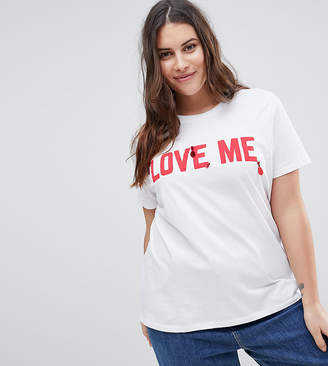 Asos Design Curve T-Shirt With Embellished Love Me Print