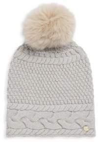 Yves Salomon Dyed Fox Fur Pom Pom Knitted Beanie