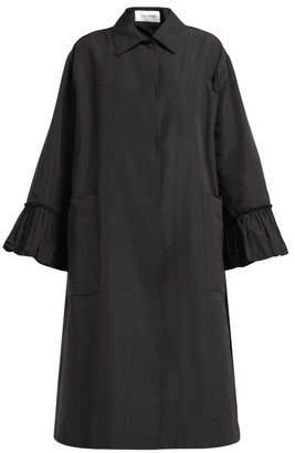 Valentino Flared Sleeve Cotton Blend Faille Coat - Womens - Black
