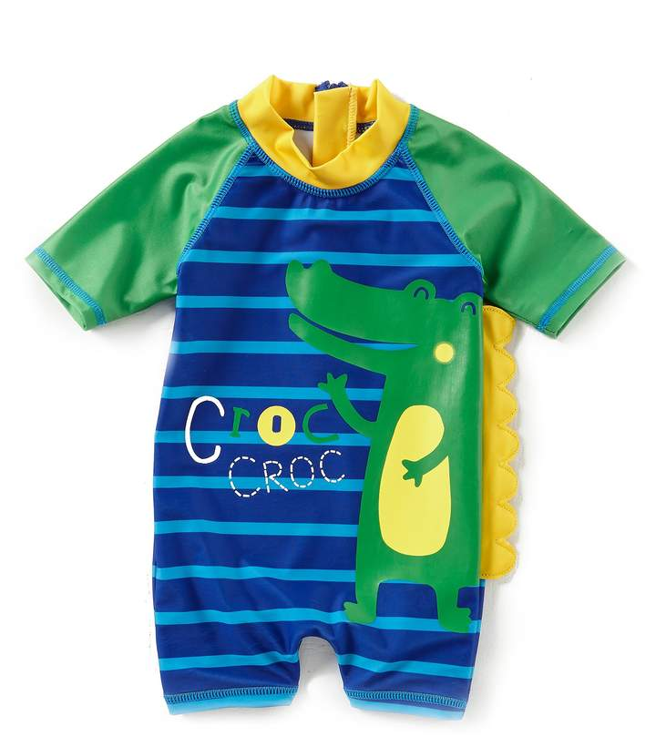 Baby Boys 12-24 Months Striped Crocodile Rashguard Swimsuit