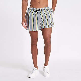 River Island White stripe print skinny fit swim trunks
