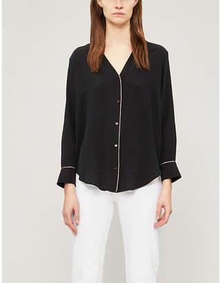 Sandro Paul V-neck silk shirt