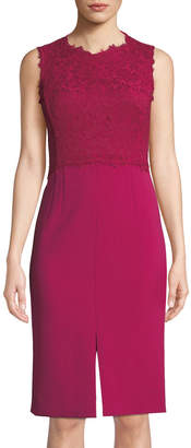 Escada Sleeveless Lace-Bodice Sheath Dress w/ Tie Back
