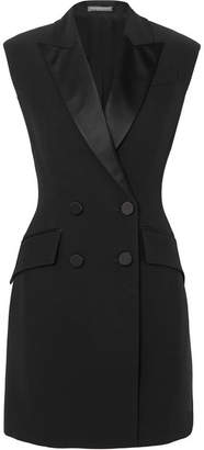 Alexander McQueen Double-breasted Satin-trimmed Crepe Mini Dress - Black