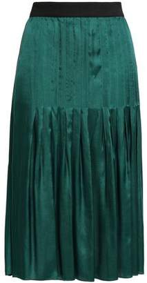 By Malene Birger Pleated Satin-twill Skirt