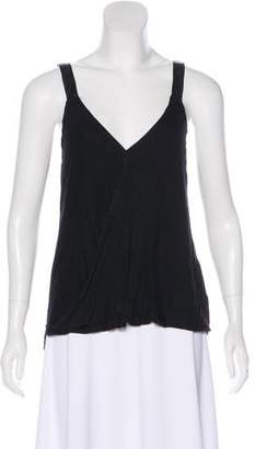 Nation Sleeveless Faux Leather-Trimmed Top