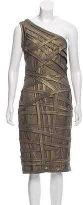Tadashi Shoji One-Shoulder Patterned Dress