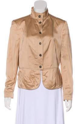 Burberry Satin Button-Up Jacket Gold Satin Button-Up Jacket