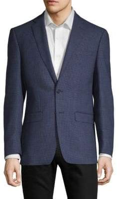 Calvin Klein Mini Grid Slim-Fit Wool Sportcoat