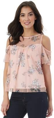 Iz Byer Juniors' Floral Cold Shoulder Top