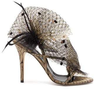 Andrea Mondin - Anne Satin, Mesh And Feather Sandals - Womens - Black Gold