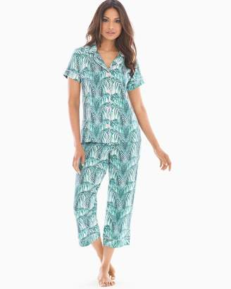 BedHead Knit Cotton-Blend Short Sleeve Pajama Set Maui Palm