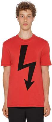 Neil Barrett Printed Bolt Cotton Jersey T-Shirt