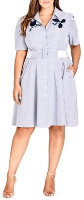 City Chic Stripe Essence Shirtdress
