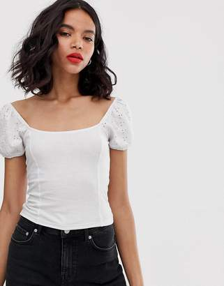 Monki broderie anglaise top with puff sleeves in white