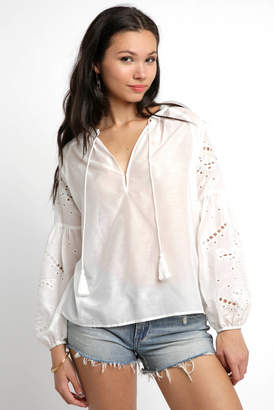 Greylin Nikita Cut Out Embroidered Blouse