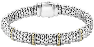 Lagos 9mm Sterling Silver Enso Bar Caviar Rope Bracelet