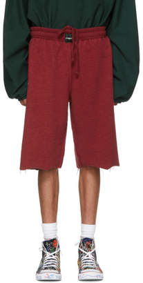 Vetements Red Oversized Inside-Out Sweat Shorts
