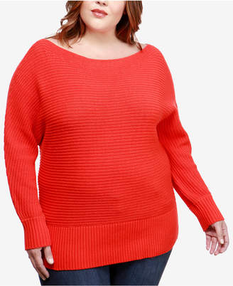 Lucky Brand Trendy Plus Size Boat-Neck Sweater