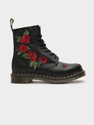Dr. Martens New Womens 8 Eye 1460 Vonda Embroidered Boots In Black Softy T Leather