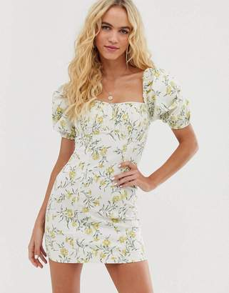 And other stories & puff sleeve mini dress in vintage floral print