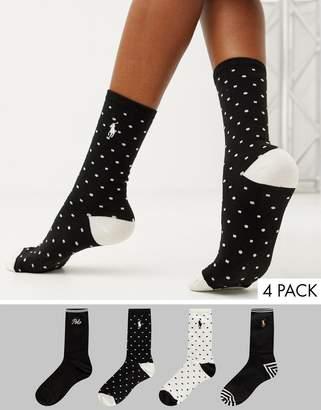 Polo Ralph Lauren 4 pack polka dot and logo socks