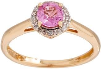 Petite Round Sapphire and Diamond Ring, 14K